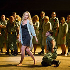 Justina Gringyte (Carmen) and ENO's chorus in Bizet's CARMEN at the London Coliseum. Photo by Alastair Muir